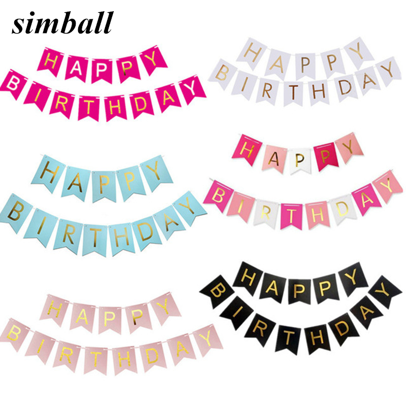 Paper Bunting Garland Banners Flags Happy Birthday Banner Boys Girl Baby Shower Decoration Wedding Birthday Party Supplies Decor