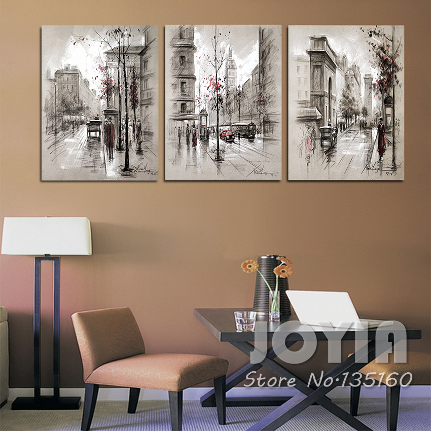 3 panel canvas painting wall art abstract city street landscape decorative pictures for living. Black Bedroom Furniture Sets. Home Design Ideas