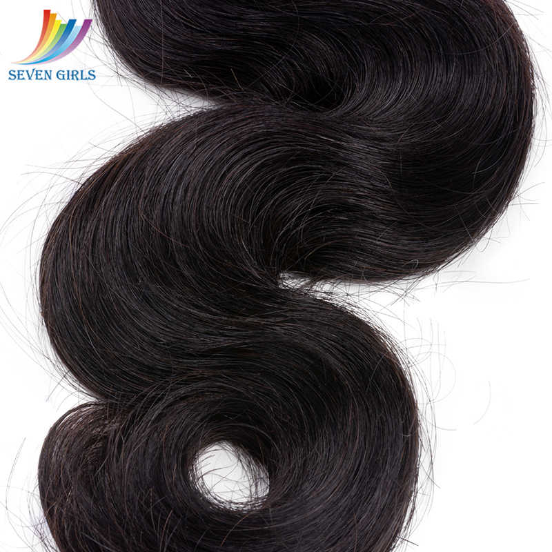 Sevengirls Körper Welle 4 Bundles Mit Verschluss Peruanische 10A 100% Reines Menschenhaar Freies Verschiffen Haar Extensions Mit 4x4 verschluss