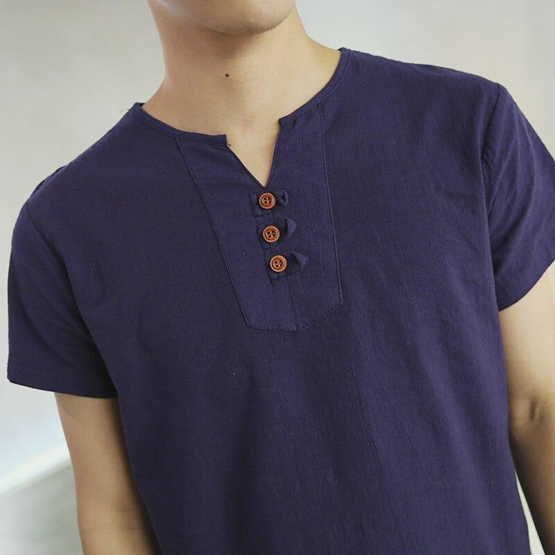 Herre T-shirt Kortærmet Japansk Linned Bomuldstrøje til mænd Blød - Herretøj - Foto 4
