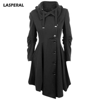 LASPERAL 2017 Irregular Turn Down Collar Long Wool Blend Coat Women Single Breasted Overcoat Autumn Winter
