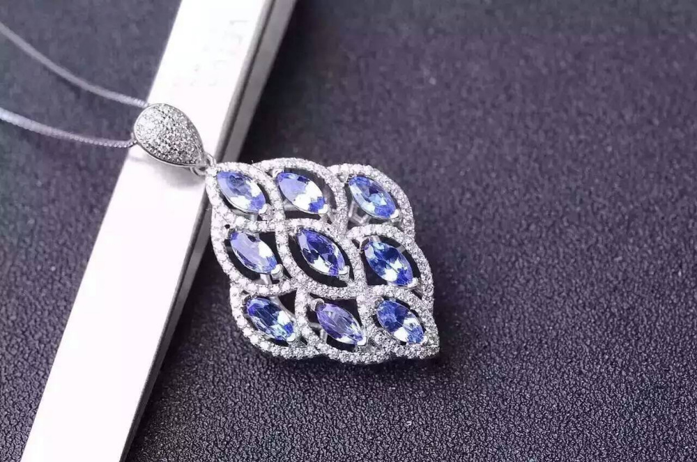natural blue topaz stone pendant S925 silver Natural gemstone Pendant Necklace trendy Elegant  Leaves women party gift jewelrynatural blue topaz stone pendant S925 silver Natural gemstone Pendant Necklace trendy Elegant  Leaves women party gift jewelry