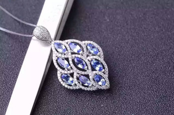 natural blue topaz stone pendant S925 silver Natural gemstone Pendant Necklace trendy Elegant  Leaves women party gift jewelry