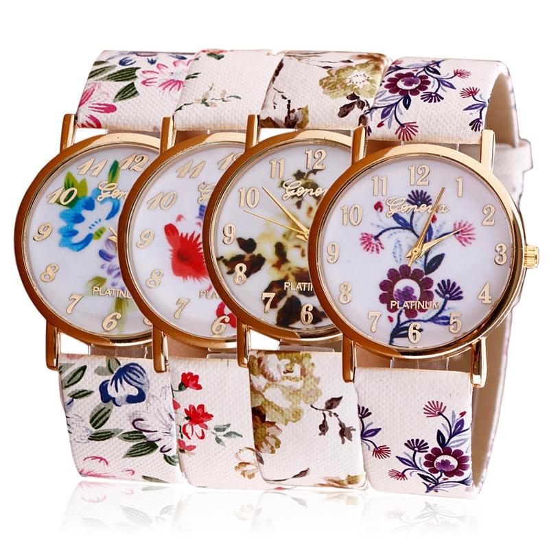 Elegant Watch Women Fashion Quartz Watches Leather Flower Sports Women Watch Casual Dress Wristwatches Relogios Feminino Clock
