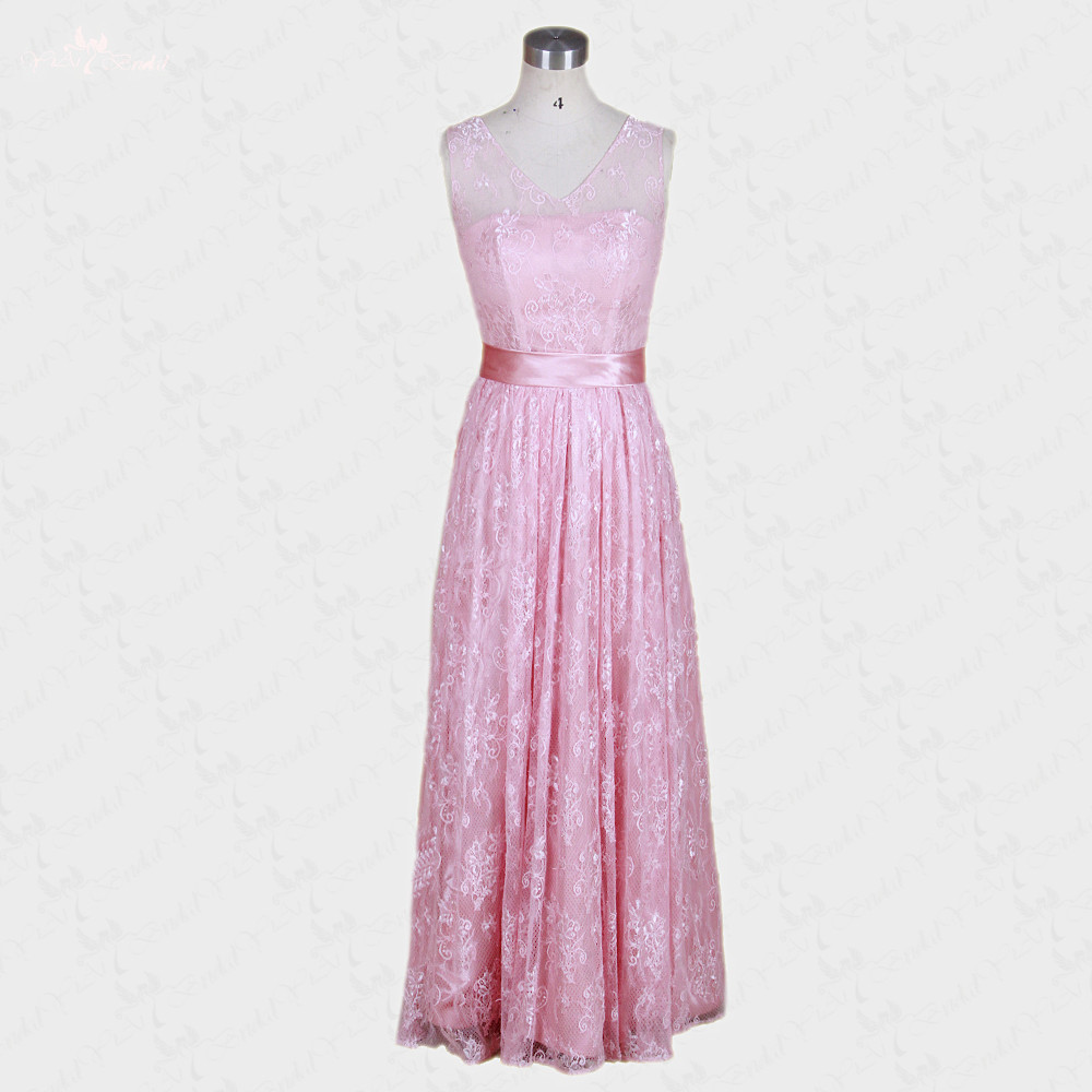 RSE26 V Neck Light Pink Party   Dress   Hot Pink Long Lace   Bridesmaid     Dress