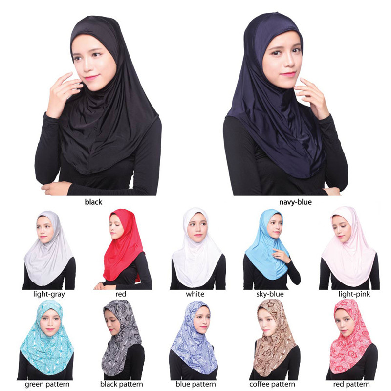 2019 Women Muslim Hijab Islamic Jersey Turban Islamic Head Wear Hat Underscarf Hijab Full Cover Inner Muslim Cotton Hijab Cap