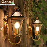 Qiseyuncai cobre Europeia lâmpada de parede sala quarto varanda corredor lâmpada de parede ao ar livre pátio chuva à prova de água lâmpada de parede de cobre