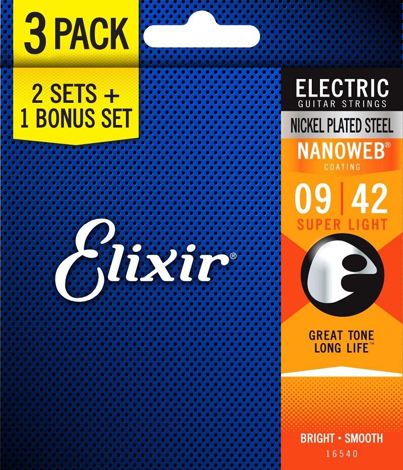 Elixir cordes cordes guitare électrique, 3 Sets pour le prix de 2