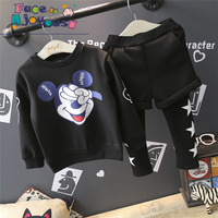 Spring Fall Baby Mickey Clothing Boys Girls Tracksuits Shirt Patchwork Pants 2pcs Kids Boy Clothes Children