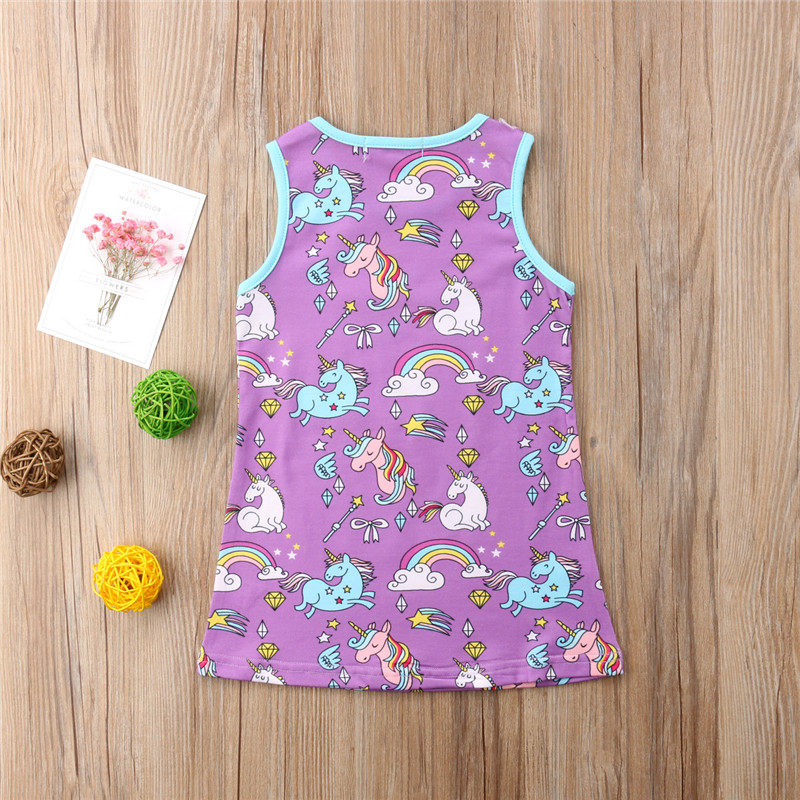 Baby Girl Princess Dress Summer 2018 New Toddler Kid Baby Girl Cartoon Unicorn Printed Dress Sleeveless A-line Dressses Vestidos