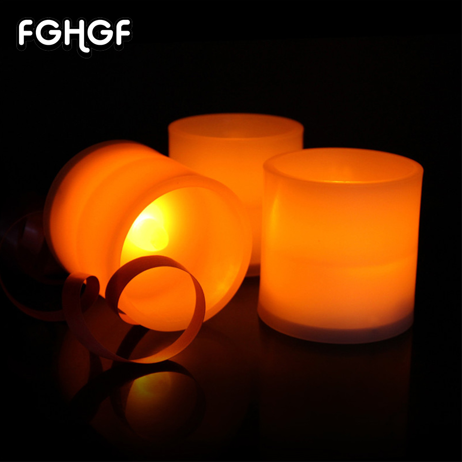 6pcs Set Funny EVA Material LED Candles Flicker White Candles Electronic Candle Table Lamps Home Decor Wedding Parties Birthday