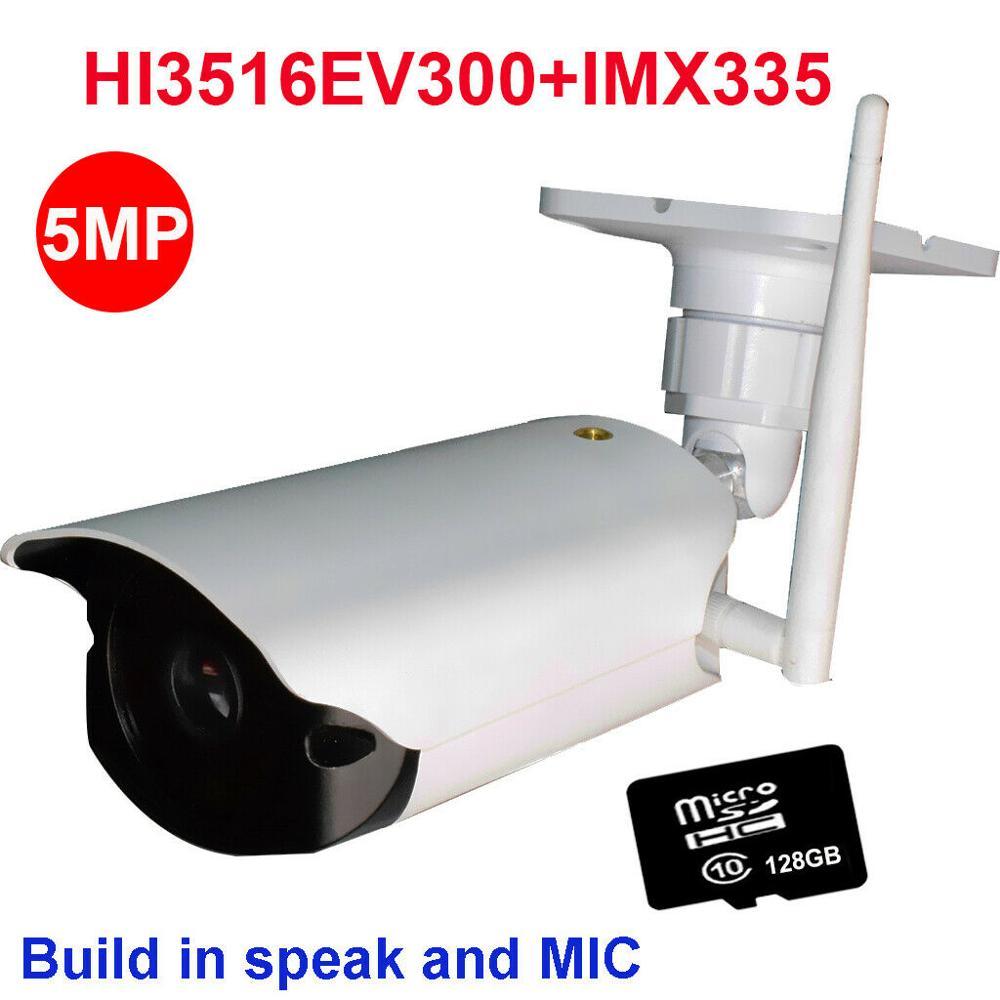 Wi-fi sem fio da câmera de segurança 4MP 5MP câmera ip IR ao ar livre câmera de segurança 32 64 cartão SD de 128GB construir em speaker MIC P2P onvif