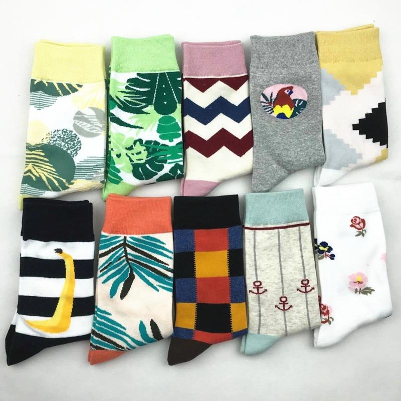 PEONFLY Fashion Colorful Printing Woman   Socks   Personality Stripe Banana Leaf Pattern Funny   Socks   casual Ventilation Cotton   Socks