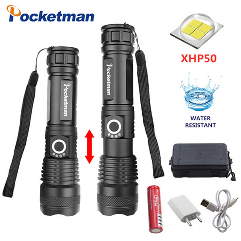 30000 lumens xhp50.2 mạnh mẽ nhất đèn pin usb Zoomable LED torch xhp50 18650 pin Có Thể Sạc Lại săn bắn z90