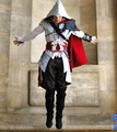 Assassin Creed 2 Costume Ezio Cosplay Men Halloween Masquerade Costume Full Set Customized with gloves and leg covers