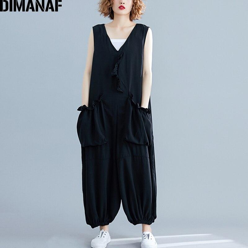 Princess 2019 プラスの女性のジャンプスーツ長ズボンノースリーブフリル夏ビッグサイズのズボン女性の服ルーズヴィンテージ黒 DIMANAF