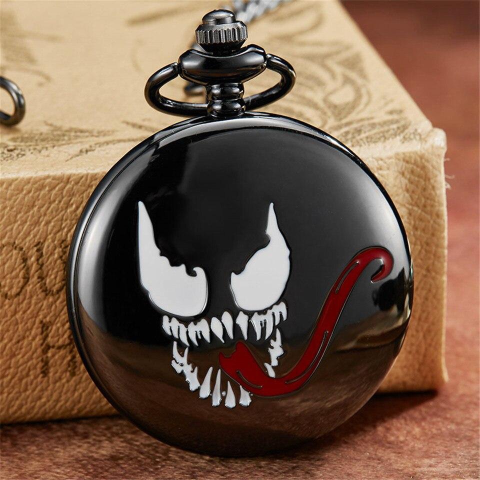 Retro Creative Black Grimace Design Pocket Watch & FOB Chain Venom Steampunk Quartz Pocket Watches Men Gifts Reloj De Bolsillo