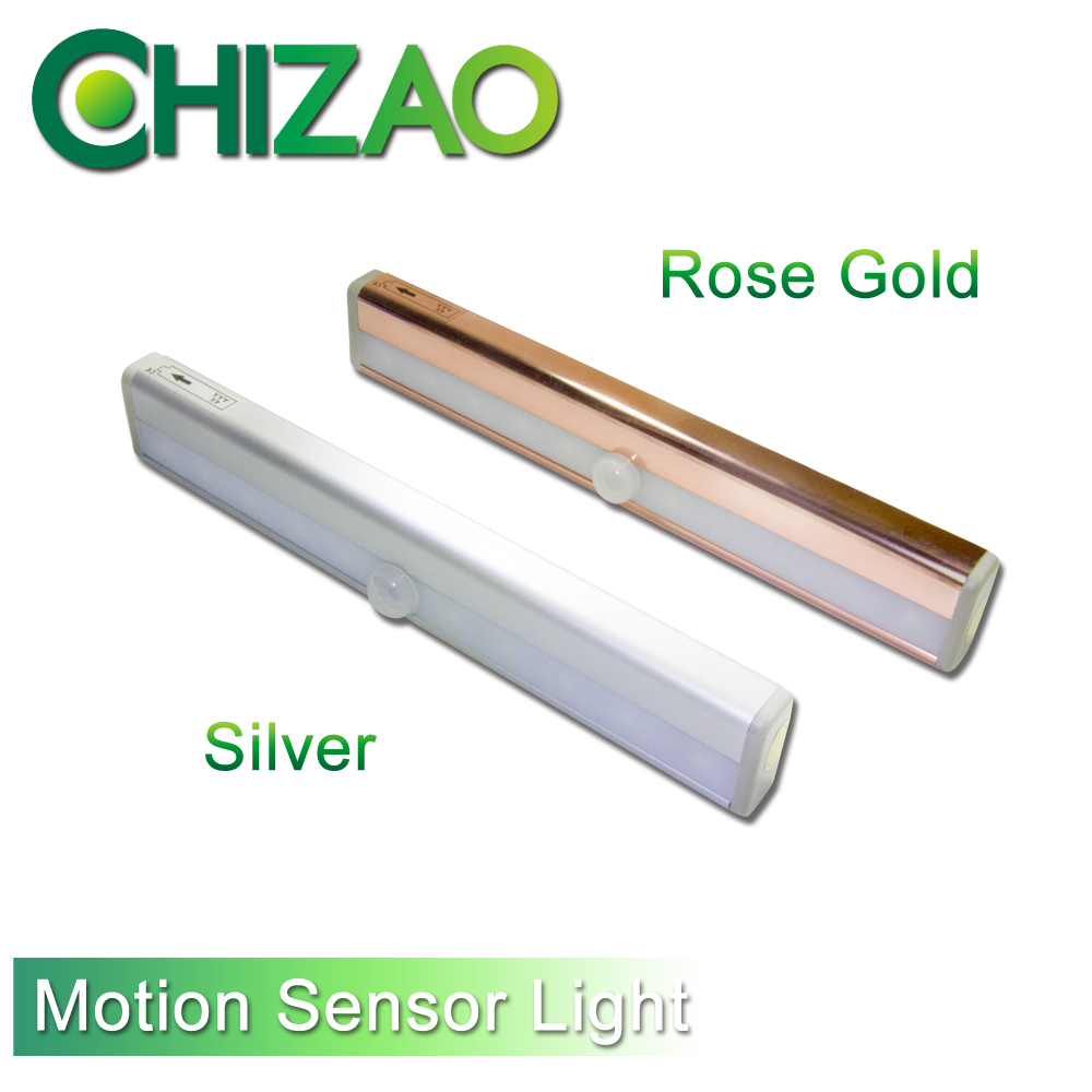 CHIZAO Wireless Induction Lamp Auto Motion Sensor Light DIY Stick Hallway Wardrobe Cabinet Closet Car Trunk 10 LED Battery USB