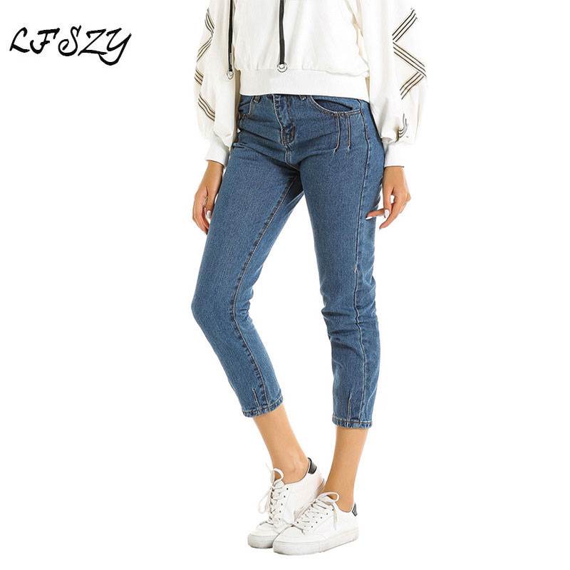 Women's Jeans 2019 New Modis Women's Jeans Fashion Street High Waist Dark Blue Trousers More Size S-XL