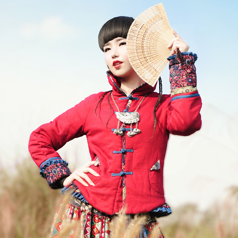 LYNETTE'S CHINOISERIE - BOSHOW Winter Original Design Women Chinese National Trend Color Block Short Cotton-wadded Jacket