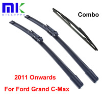 Kit Silicone Rubber Front And Rear Wiper Blades For Ford Grand C Max 2011 Onwards Windscreen