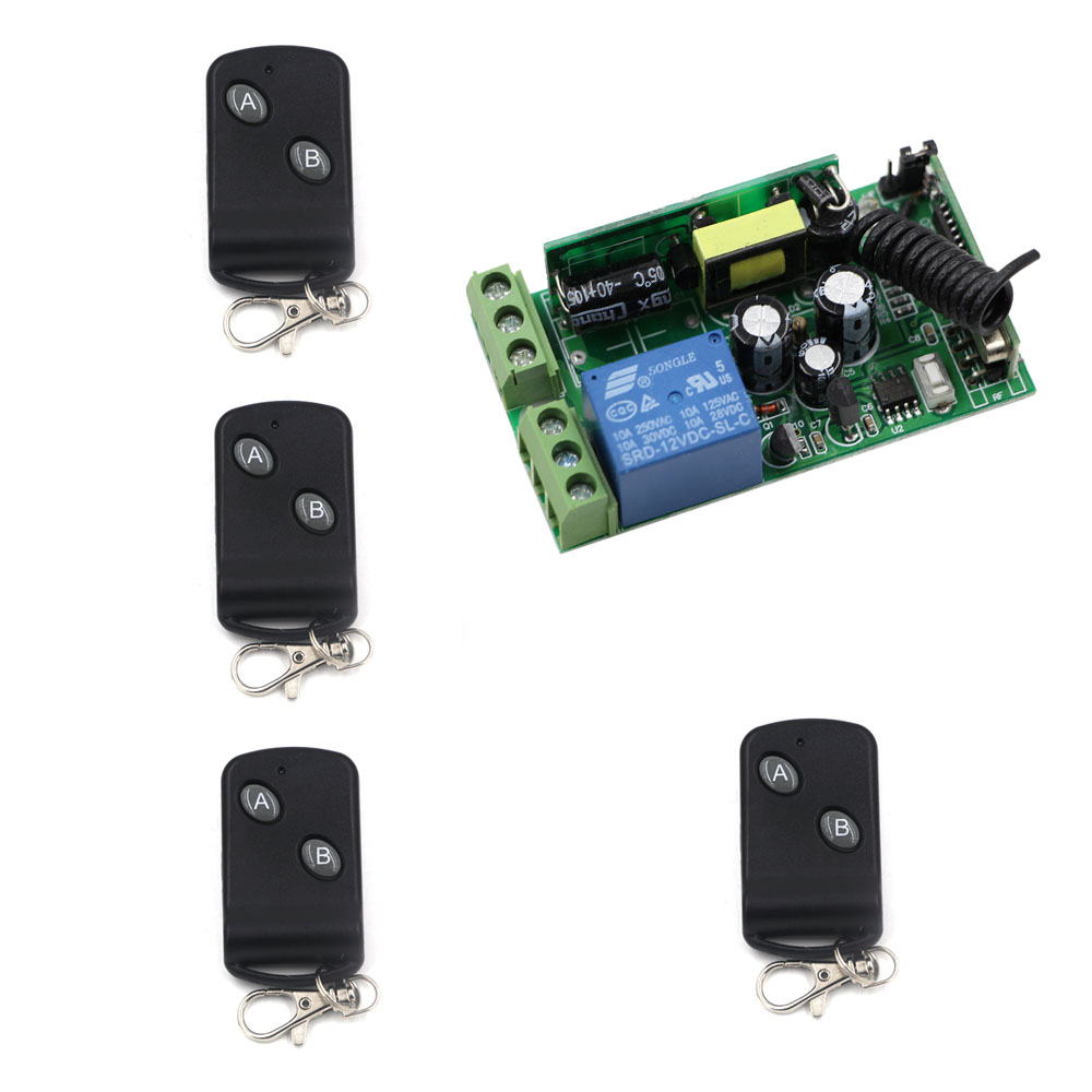 AC85V 110V 220V 250V 1CH 10A Relay RF Wireless Remote Control Switch 4*Transmitters+ Receiver 2 Key Household Remote Control ac 85v 250v 1ch rf wireless remote control switch system 1 transmitters
