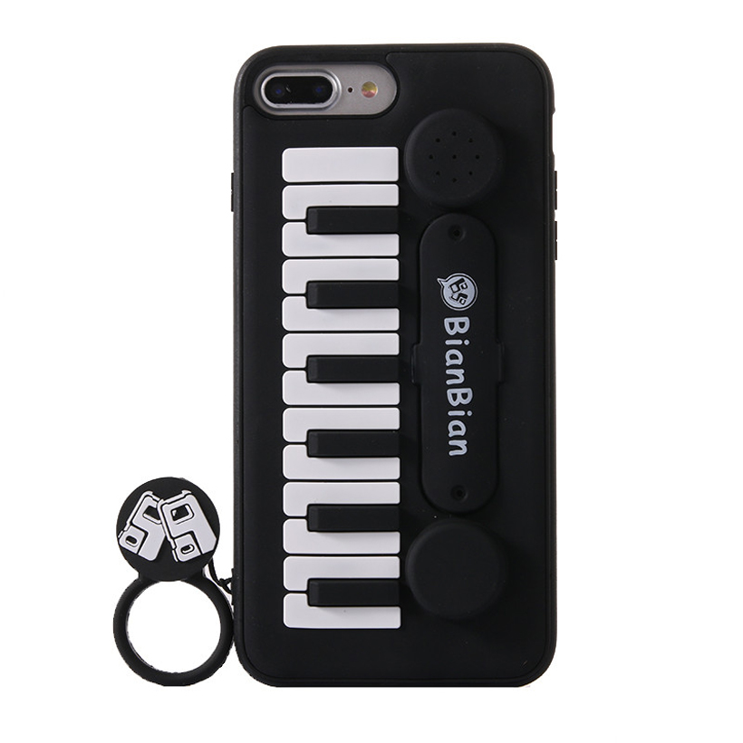 Ritozcase 3d Piano Keys holder Soft Silicone Phone case Cover for iPhone 6 6s plus 7 8 Plus make a sound phone bag Coque