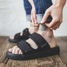 2019 New Fashion Summer Shoes Men All Black Cool Sandals Velcro Anti-slip Beach Outdoor Slippers Size 38-44