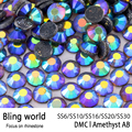 SS16 SS20 SS30 Heat Transfer Flatback Amethyst AB DMC Hot Fix Rhinestones for Phonecase Decoration DIY Nail Art