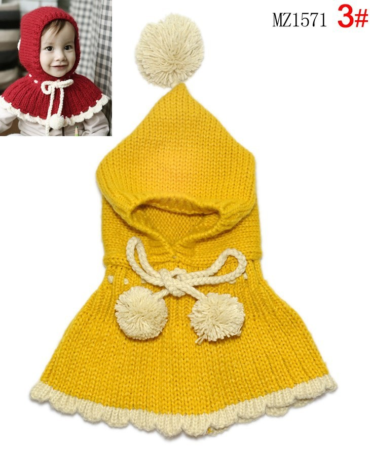 Retail Child Autumn Winter Falbala Hooded Scarf Girls Knitted Shawl Hat Kids Toddler Cloak Caps Children Colthes Free Shipping