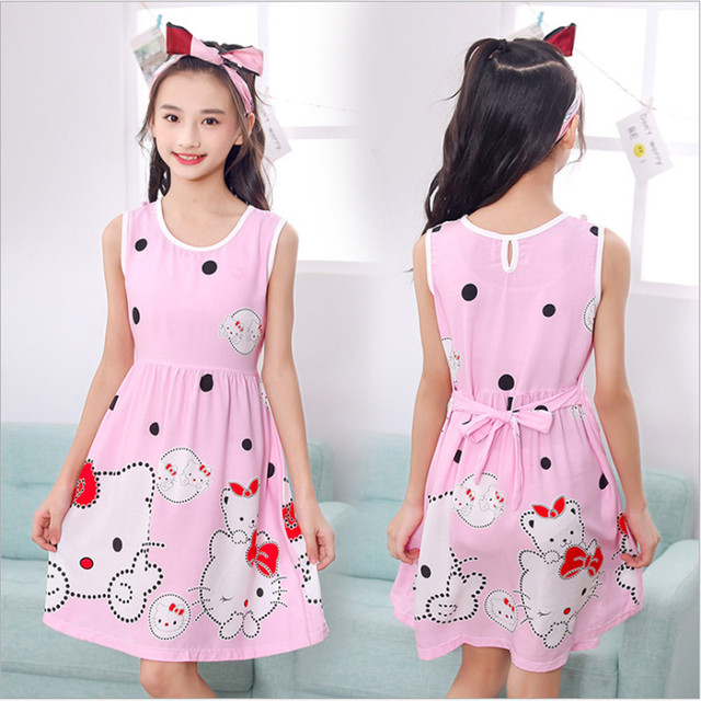 Girls night dress Summer pink Princess cartoon Dresses kids hello kitty sleeping Dress children nightgown for girl gifts 2-12Y