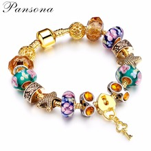 European Style Authentic Tibetan  Light Yellow Gold  Color Crystal Charm Bracelets for Women Original DIY Beads Jewelry AA82