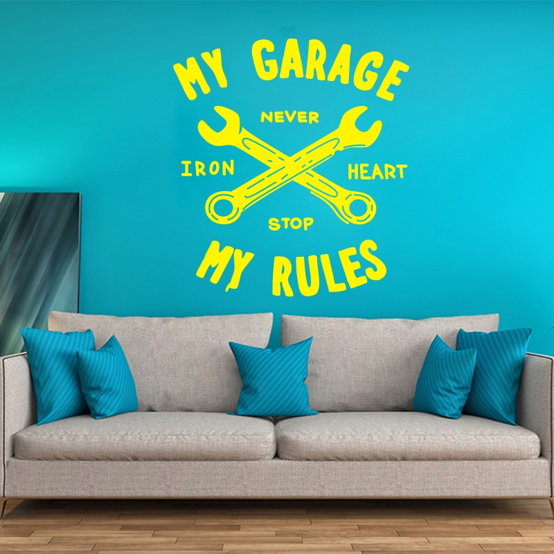 Car Vinyl Wall Decal Art Sticker Home Decor Sticker Mural Decal My Garage My Rules Poster Removebale Mural Poster B604