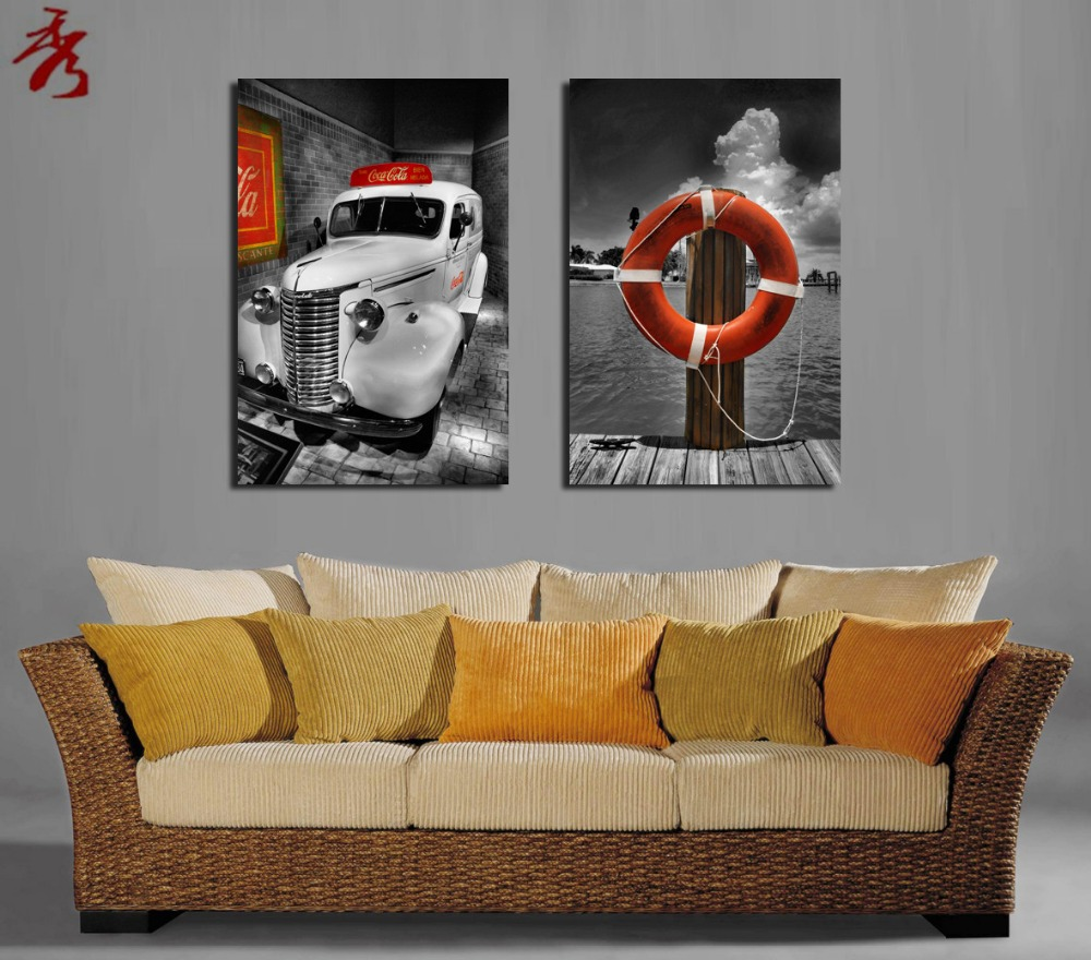 Vintage car swim ring canvas painting 2pcs home room sofa classic vintage car swim ring canvas painting 2pcs home room sofa classic modular picture art wall decor unframed paintings in painting calligraphy from home amipublicfo Images