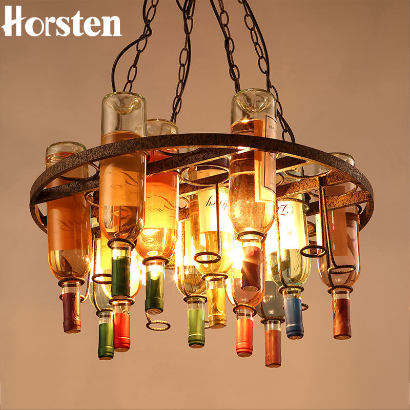 Horsten Vintage Retro Loft Wine Bottle Iron Pendant Light American Creative Bar Restaurant Cafe Hanging Light Decor Pendant Lamp new loft vintage iron pendant light industrial lighting glass guard design bar cafe restaurant cage pendant lamp hanging lights