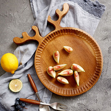 Acacia Wood Plate Wooden Dessert Cake Serving Plate Lovely Deer Shaped Food Fruit Serving Tray Platter Tableware Wooden Utensils