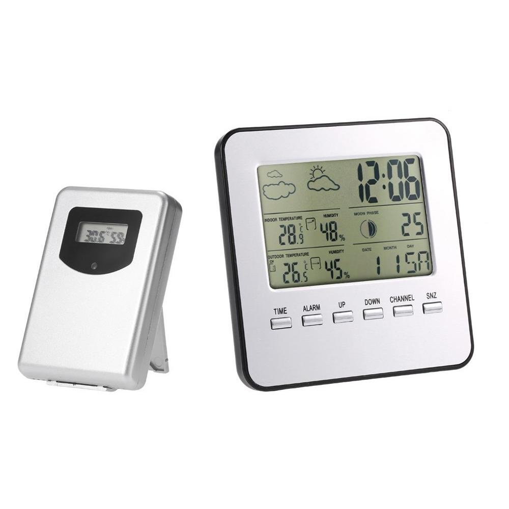 Wireless LCD Digital Thermometer Hygrometer Indoor Outdoor Weather Station Temperature Humidity Meter Weather Forecast Alarm Clo