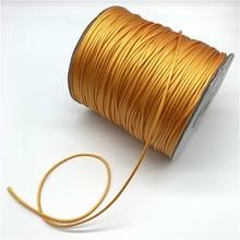 Cabo de fio encerado para algodão, cordão de fio encerado amarelo dourado 0.5mm 0.8mm 1mm 1.5mm 2mm colar corda para fazer jóias
