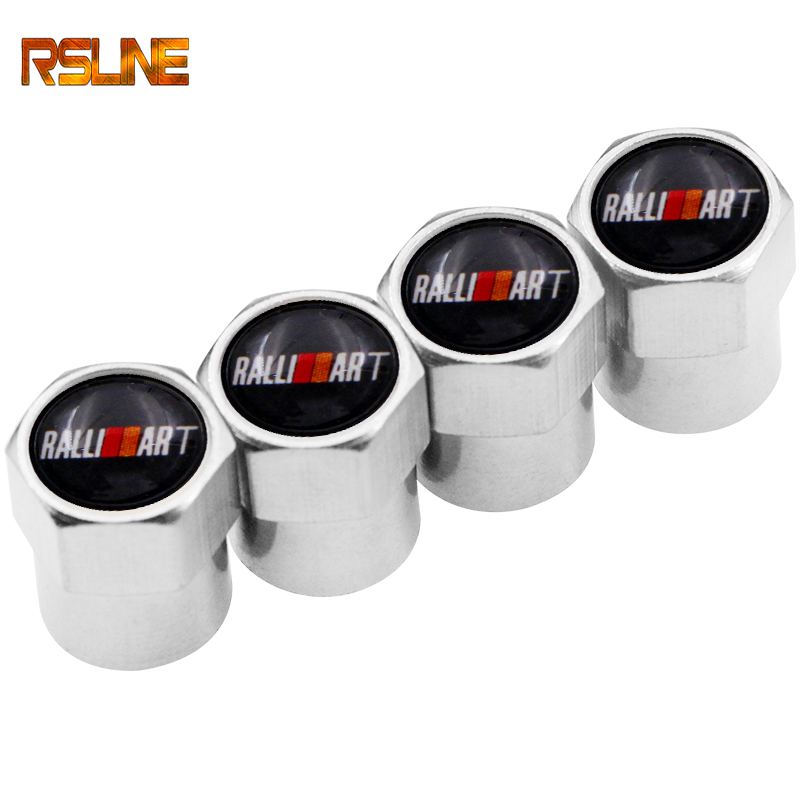 Car Styling Wheel Caps Tire Valve Caps For Ralliart Logo For Mitsubishi Lancer ASX Outlander Pajero Carisma L200 Galant EVO Colt