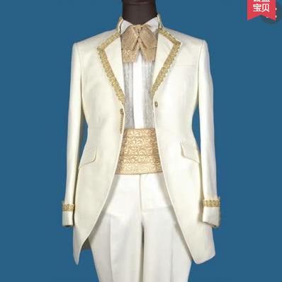 Cheap for european royal men suit set with pants mens designer suits handmade formal dress slim fit mens wedding suites + pant