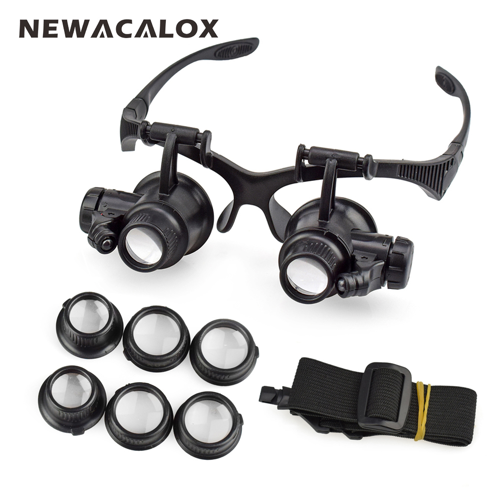 NEWACALOX 10X 15X 20X 25X Portable Head Wearing Magnifying Glass Double Eye for Jewelry Watch Repair Tools with 2 LED / 8 Lens magnifier 10x 15x 20x 25x led double eye glasses loupe lens jeweler watch repair measurement with 8 lens