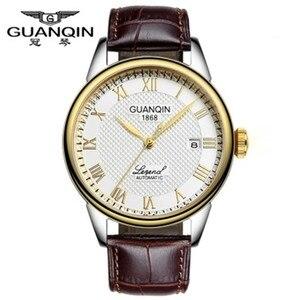 Image 3 - Original GUANQIN Watches Men Mechanical Watch 2019 Leather Clock Luxury Mens Watch Business Waterproof Watches for Men Clock