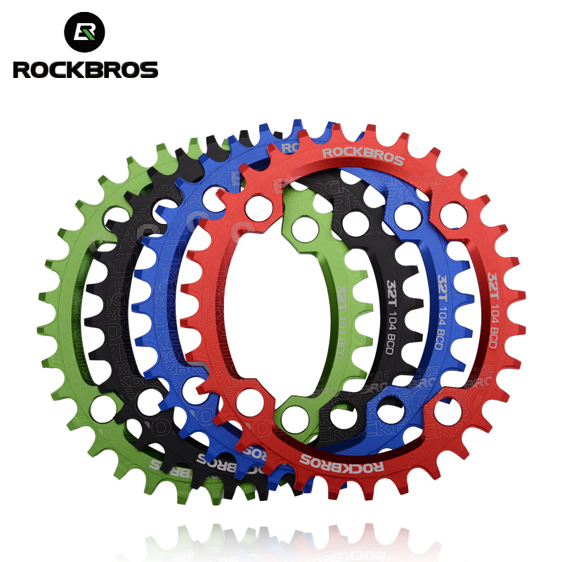 ROCKBROS Oval Round Bicycle Crank & Chainwheel 104BCD Wide Narrow Chain Ring 32T/34T/36T/38T Crankset MTB Bike Bicycle Parts