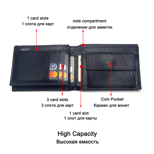 Casual Men's Wallets Leather Solid Luxury Wallet Men Pu Leather Slim Bifold Short Purses Credit Card Holder Business Male Purse 3