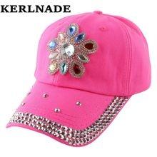 4fbf3efdb1d0a Promoción nueva moda flor floral decorado Bling rhinestone casquillo del  SnapBack sombreros mujeres chica marca gorras