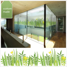 Personalized custom non-adhesive electrostatic glass film bathroom balcony sunscreen window decorative frosted green leaf