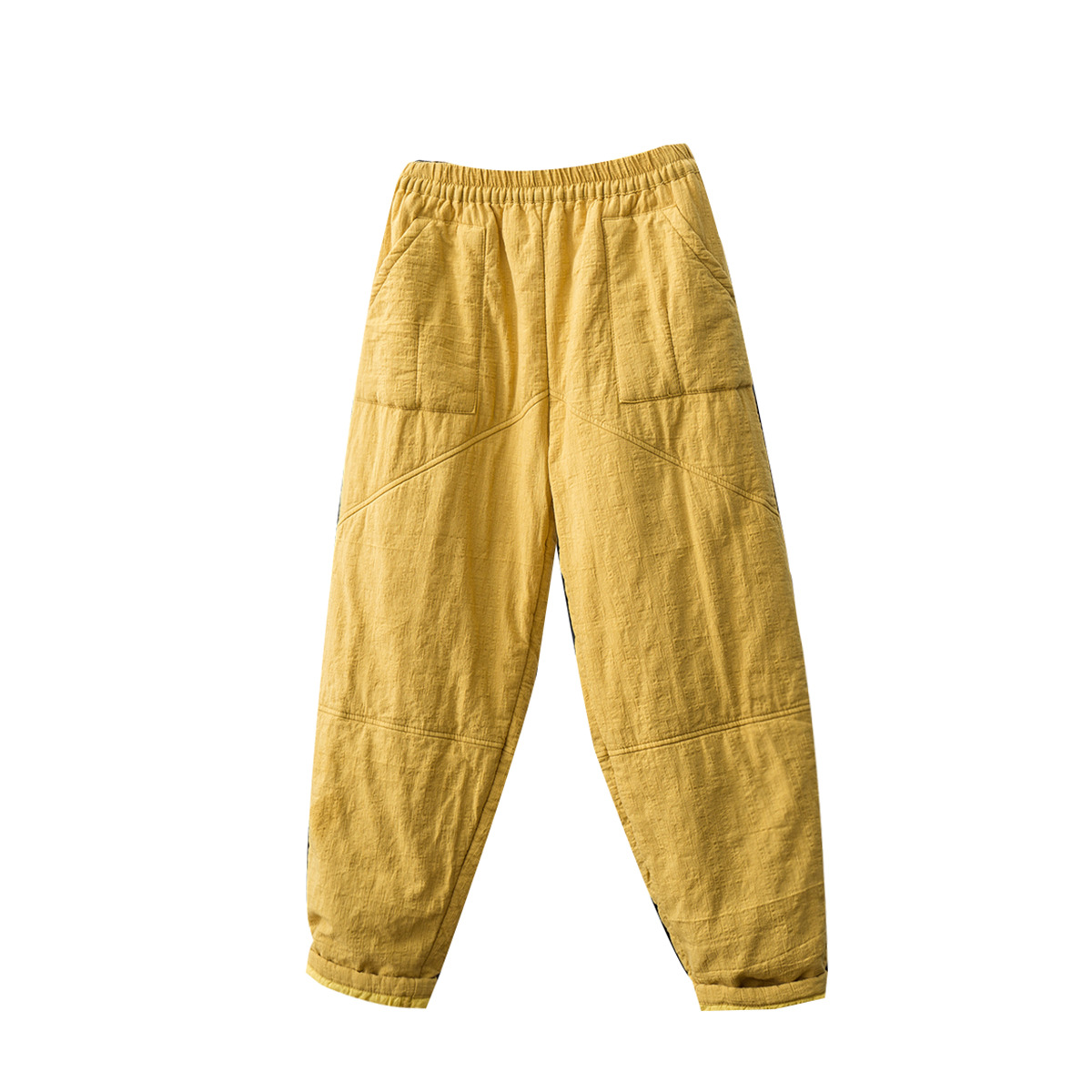 Winter New Cotton Linen Pants Elastic Waist Quilted Padded Harem Pants Casual Pants Feet Pants