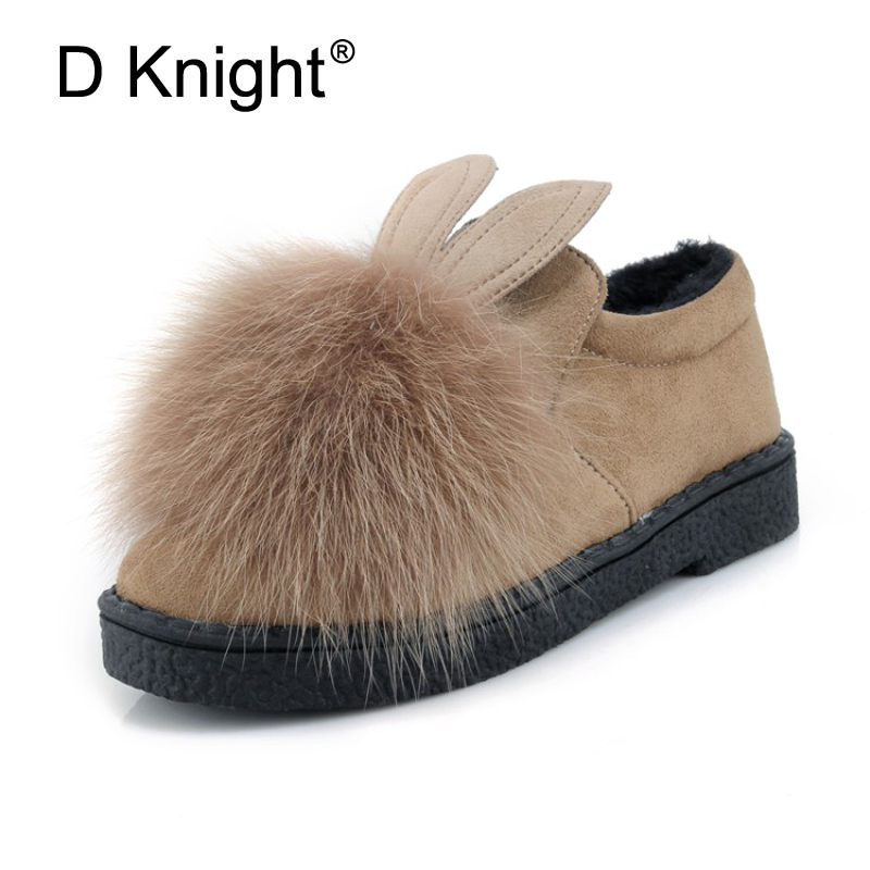 D Knight Plus Size 30-45 Rabbit Faux Fur Decoration Loafers Round Toe Winter Creepers Women Flats with Short Plush Women's Shoes women shoes flats female shoes slip on rabbit fur autumn winter casual loafers flock short plush plus size 43 black khaki gray