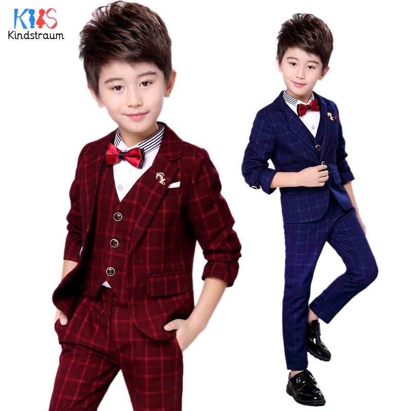 Kindstraum 4pcs Boys Formal Suits for Wedding 2018 Fashion Plaid Blazer+Vest+Shirt+Pant Kids Formal Clothing Sets Party, MC915 4pcs plaid