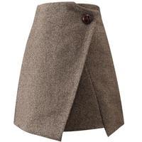 Mini Skirt Wool A line High Waist Ladies Work Skirts Slim package hip Women Winter woolen Skirt